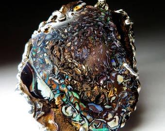 Big Australian Koroit Opal Pendant art 4169 | Natural Organic Australian Opal Sterling Silver Necklace Fine Jewelry