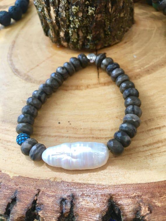 Bronzite, Rice Pearl & Turquoise Pave Ball Bracelet,