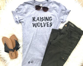 Raising wolves shirt, Mom of toddlers tee , Funny shirts, Trendy mom shirt, Funny Mom Shirt, New Mom Gift, Gift for Mom, Mothers Day Gift