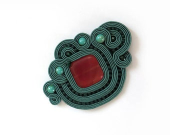SALE Forest green Soutache brooch dark green brooch Embroidered brooch Gift for girlfriend colorful stone brooch