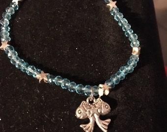 Blue Glass Bead Star and Fish Bracelet
