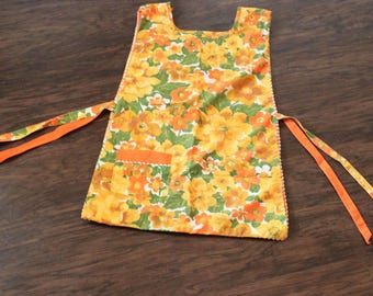 Vintage Handmade Crafting Floral Smock-With Pockets-Reversible-70s-Full Apron-Ladies