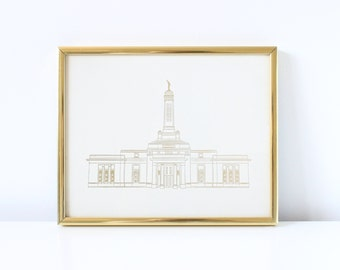 Indianapolis Temple - Hand Drawn - REAL FOIL - Gold Foil Print - LDS - Illustration - Indiana - Mormon - Home Decor - Indianapolis