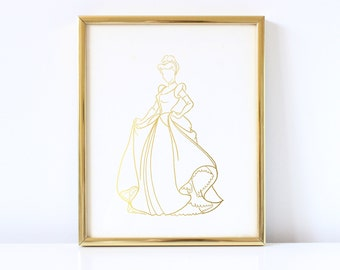 Cinderella Inspired - Disney Inspired - Princess - Cinderella - Real Foil - Faceless - Gold Foil - Hand Drawn - Decor - Print - Foil Print
