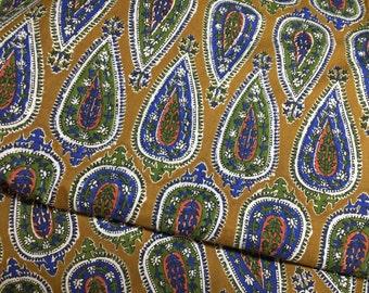 Indian Fabric by the yard, Block Print Fabric, Ornate Paisley, Dark Mustard, Block Leaf Print,Printed Indian Cotton, Indigo Print, Blue Leaf