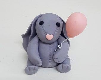 Fondant Bunny Rabbit Cake Topper - 3D for Birthday Christening Easter Cake Decoration