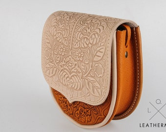 Small crossbody purse, embossed lether, mini purse, white and foxy bag, leather bag, tooled leather, small crossbody bag, shoulder bag
