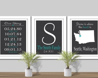 Important Dates, Family Name Art, & State Art - Digital Wall Art. Custom Colors. Printable. State Map Art. Our Story Dates Map