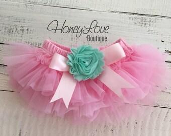 Light Pink tutu skirt bloomers diaper cover embellished Mint/Aqua shabby flower, ruffles all around, newborn infant toddler little baby girl