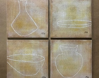 Original Oil Painting - White Pottery Set of 4, Wall Art, Canvas Art, Modern Vintage Simple Oriental Eastern, Ceramics Drawing, 28x28