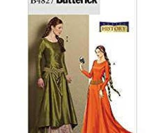 Butterck History B4827 Sizes 6-12 Medieval Dress and Belt Uncit Mint