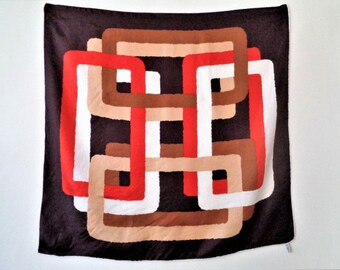 Silk Scarf by Creazione Serica Lariana Como Italy, Labirint Scarf, Abstract Print Scarf, Brown Orange Beige Silk Scarf, 70s scarf