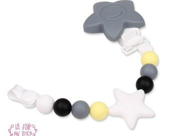Pacifier Holder Silicone Gray Star / Silicone Teething Toy Holder / Flower Silicone Star / LaJoieEnRose / Teething Toy / Pacifier Clip