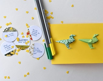 Card child wishes, origami dinosaur, words of encouragement, confetti, positive words, by the BonsMots and stuffed paper greeting card