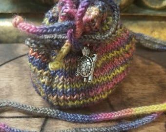 Hand Knit Medicine Pouch