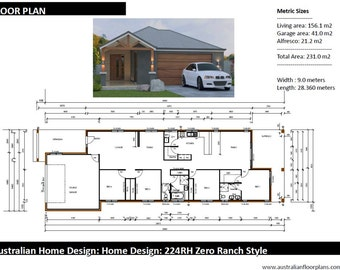 231m2 | 4 Bed 2 Bath | narrow lot |  4 Bedroom Ranch Style floor plans | house designs australia | 4 bed + 2 bath + 2 car plan