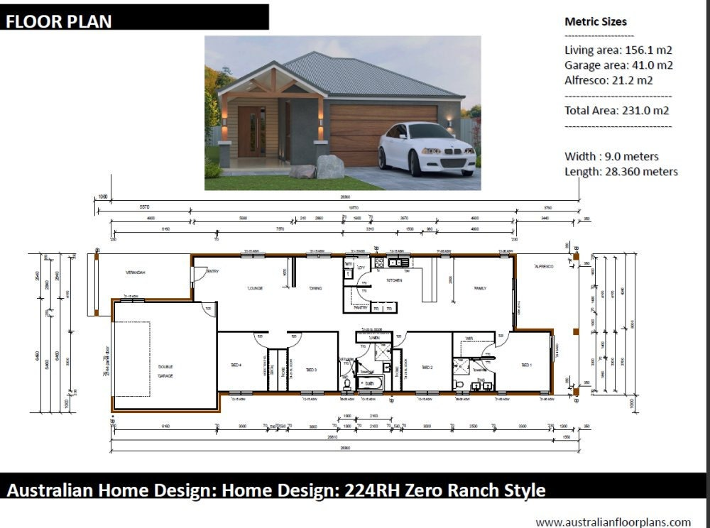 231m2 4 bed 2 bath narrow lot 4 bedroom ranch style for 20 bedroom house plans