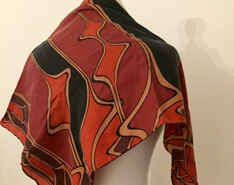 Silk Square Scarf. Art Nouveau. Richard Allan. 1970's. Hand Rolled Edges.