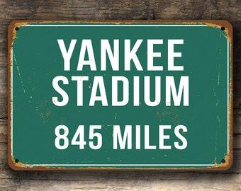 YANKEE STADIUM DISTANCE Sign Vintage Style, Personalized Yankee Stadium Sign, Yankee Stadium Signs, Custom New York Yankees, Yankee Stadium