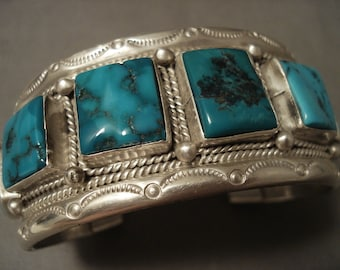 Museum Vintage 'Spider Squared Turquoise' Silver Bracelet Old