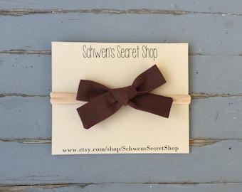 Brown fabric bow, baby girl headband, hand tied bow, baby girl bow, nylon headband, baby headband, school girl bow, infant headband