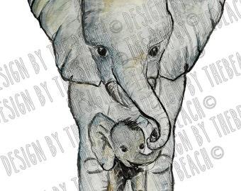 Illustration Mum and Baby elephant