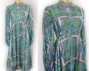 SALE: 25% Off This Week. Originally 40.00 / Vintage 1960's Malcolm Starr Green + Blue Metallic Bohemian Bombshell Party Dress Size M 34 Bust