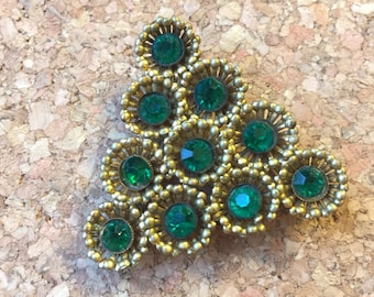 Gold and Green Jewel Triangle Christmas Tree Brooch