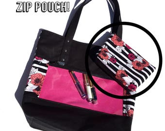 Add a coordinating zippered pouch to my show-off tote