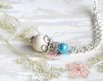 Light blue necklace Blue Bridesmaid jewelry Swarovski necklace with rhinestone Bridesmaid necklace Light blue gift Blue wedding jewelry