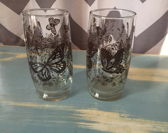 Vintage brown butterfly drinking glasses
