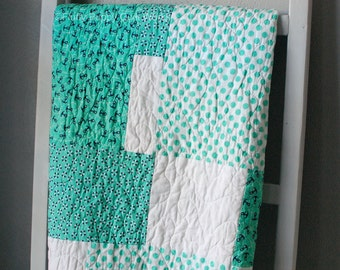 Nautical Baby Quilt, Nautical Quilt, Toddler Quilt, Baby Quilt, Blue Baby Quilt, Green Baby Quilt, Nautical Blanket