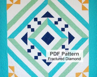 PDF Quilt Pattern, Digital Quilting Pattern, Half Square Triangle Quilt, Lap, Twin, Full , Queen, King Size Quilt Top Sewing Instructions