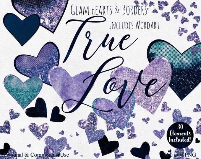 LOVE HEARTS WATERCOLOR Clipart Commercial Use Clip Art True Love Teal & Purple Word Art Metallic Textures Heart Confetti Wedding Clipart