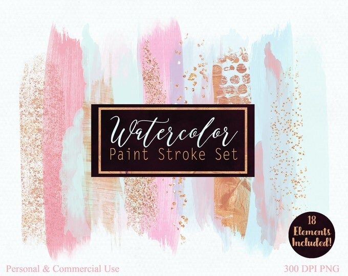 WATERCOLOR BRUSH STROKES Clipart Commercial Use Clip Art Watercolor Paint Blog Header Mint Pink & Rose Gold Confetti Watercolor Logo Clipart