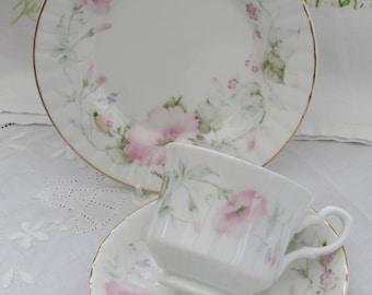 Vintage Teacup Trio, Bone China Teacup Trio, Floral Teacup, Royal Stafford Teacup, Made in England