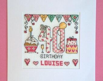 Happy 40th Birthday cross stitch card kit