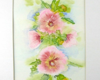 Hollyhock Watercolor, Hollyhock Painting, Original Watercolor, Home Decor, Gift, Floral Watercolor