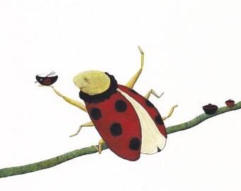 Original illustration,Handmade Illustration, Ladybug, Animal, Wall decor