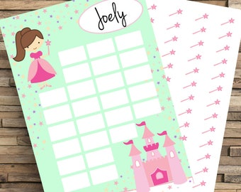 Princess Reward Chart, Kids Reward Chart, Potty Training Chart, Chore Chart, Routine Chart, Sticker Chart, Good Girl Chart, Homework chart