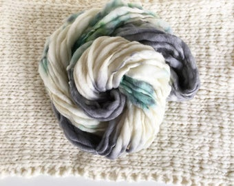SALE Handspun Thick and Thin Yarn - Grey and Green