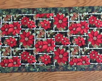 Poinsettia Table Runner, Holiday Decor