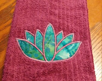Yoga Towel With Lotus Applique