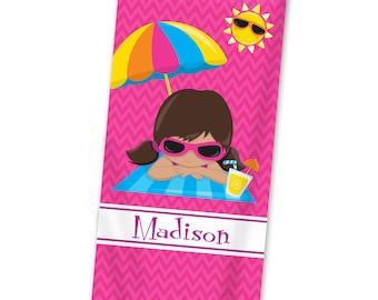 Personalized Kids Beach Towel - Pink Beach Towel, Hot Pink Chevron Summer Sun Towel, Fun Beach Towel, You Pick Girl - Kids Personalized Gift