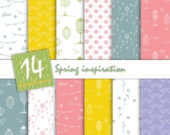 Spring Digital Paper-Floral Digital Paper-Romantic-Pink,Blue,Yellow,Green,Purple-Floral Patterns-Birdcage,birds,flowers,love patterns,girly