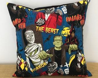 """Dracula, Frankenstein, Monster Cushion Cover. Gift for kids. 18"""" (45cm). Cushion Cover Australia. Horror Decor. Horror movie"""