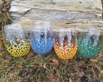 Harry Potter inspired Hogwarts School of Witchcraft and Wizardry Gryffindor, Slytherin, Ravenclaw, and Hufflepuff House wine glass set of 4