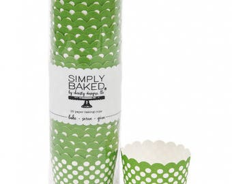 Baking Cups   Green and White Dots Baking Cups   Green Paper Baking Cups   Snack Cups   Candy Cups   Party Supplies   The Party Darling