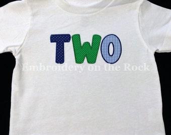 TWO shirt, 2nd birthday shirt, TWO bodysuit, Second birthday shirt, boy, TWO birthday shirt, embroidered shirt, embroidered two