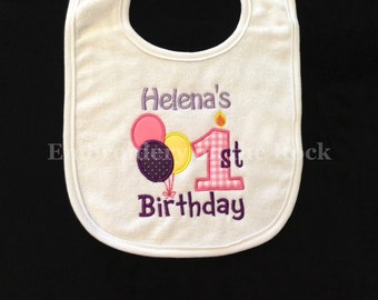 Birthday bib, 1st birthday bib, first birthday bib, personalized, birthday bib girl, embroidered